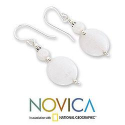 Handmade Sterling Silver 'Luminosity' Moonstone Dangle Earrings (India) - Thumbnail 2