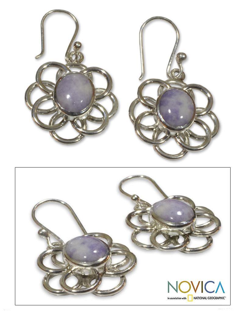 Handmade Sterling Silver 'Maya Lilac' Jade Earrings (Guatemala)