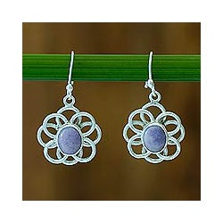 Handmade Sterling Silver 'Maya Lilac' Jade Earrings (Guatemala)