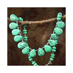Sterling Silver 'Fortune's Friend' Dyed Magnesite Necklace (India)