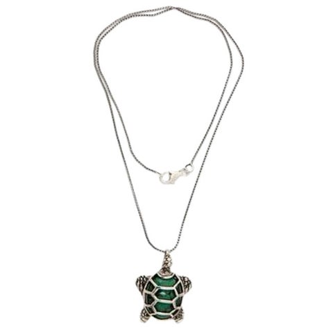 Handmade Sterling Silver 'Chelonia Turtle' Recon Turquoise Necklace (Indonesia)