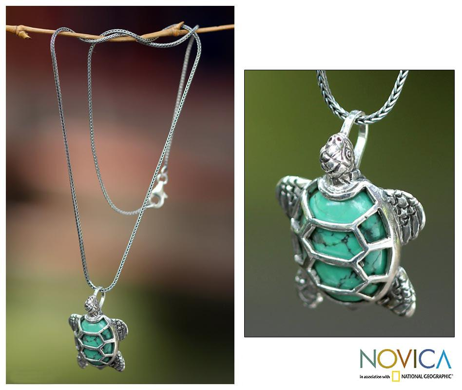 Sterling Silver 'Chelonia Turtle' Recon Turquoise Necklace (Indonesia)