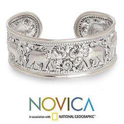 Sterling Silver 'Six Thai Elephants' Cuff Bracelet (Thailand)