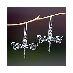 Handmade Sterling Silver 'Lucky Dragonflies' Dangle Earrings (Indonesia)