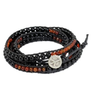 Leather 'Mekong Midnight' Multi-gemstone Wrap Bracelet (Thailand)