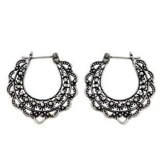 Handmade Sterling Silver 'Moon Blooms' Flower Earrings (Indonesia)