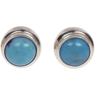 Blue Moons Handmade Vintage Style Women's Clothing Accessory Sterling Silver Classic Turquoise Jewelry Stud Earrings (Indonesia)
