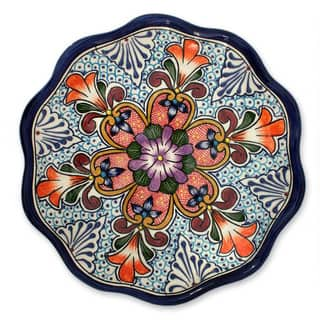 Handmade Ceramic 'Wilderness' Talavera Serving Plate (Mexico)|https://ak1.ostkcdn.com/images/products/6341207/P13963368.jpg?impolicy=medium