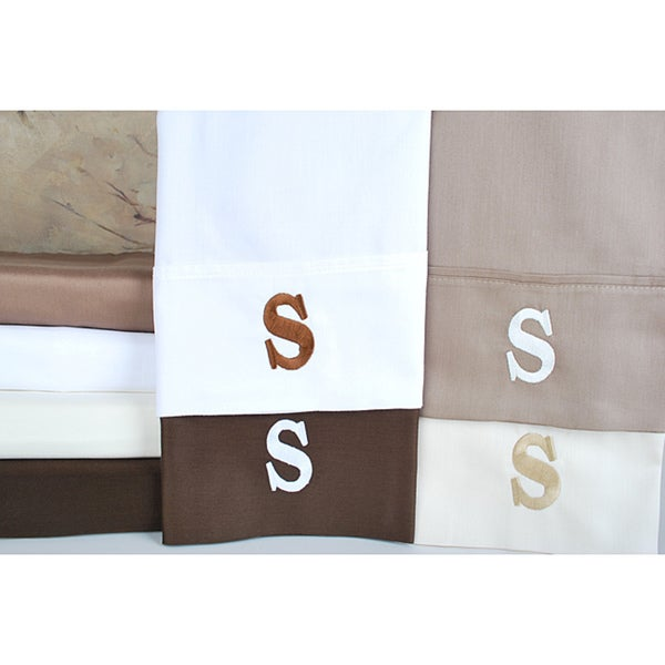 Egyptian Cotton 300 Thread Count Solid Block 'S' Monogram Sheet Set