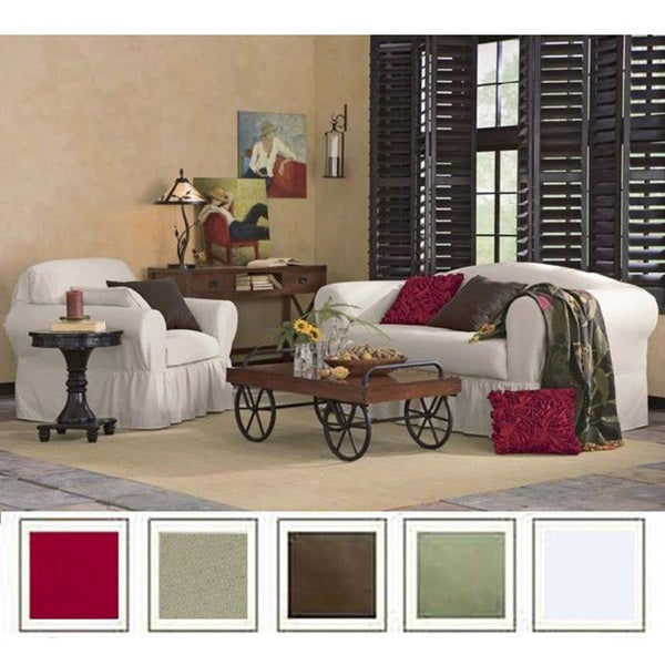 Delightful All Cotton 2 Piece Ruffled Sofa Slipcover