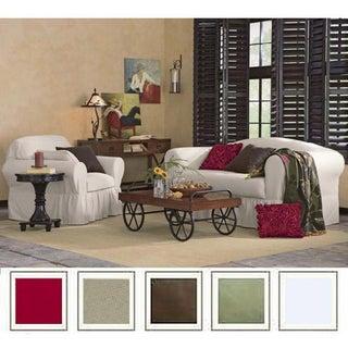 All Cotton 2 Piece Ruffled Sofa Slipcover