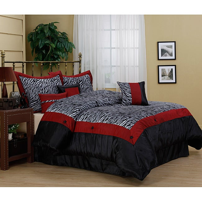 Sahara Zebra Print 7-piece Comforter Set (Queen), Black (...