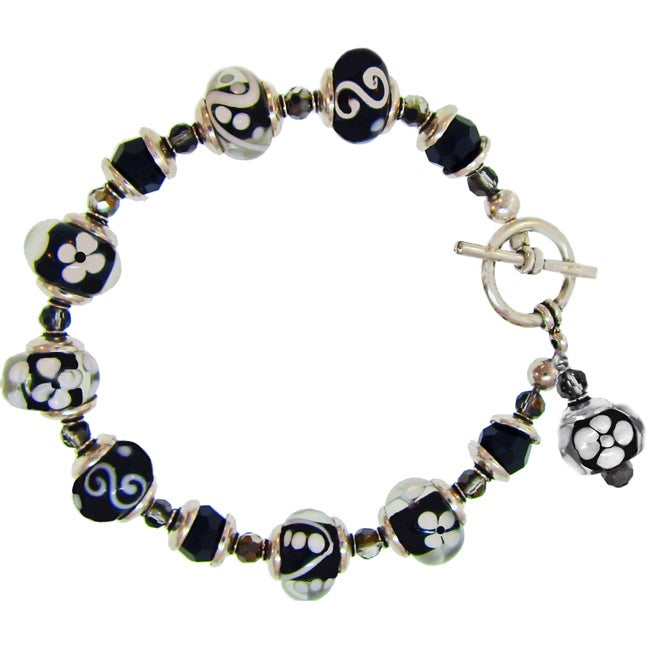 Misha Curtis Black and White Glass Bead Bracelet