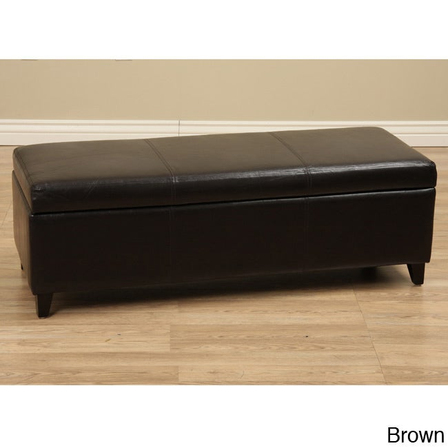 Warehouse Of Tiffany Sharon Faux Leather Storage Bench