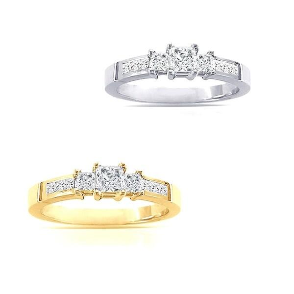 14k Gold 1ct TDW 3-Stone Princess-Cut Diamond Engagement Ring by Auriya