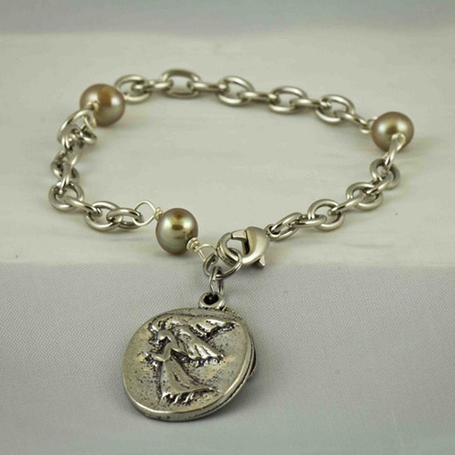 Praols Story Bracelets Silvertone 'My Guardian Angel' Glass Pearl Bracelet (USA)
