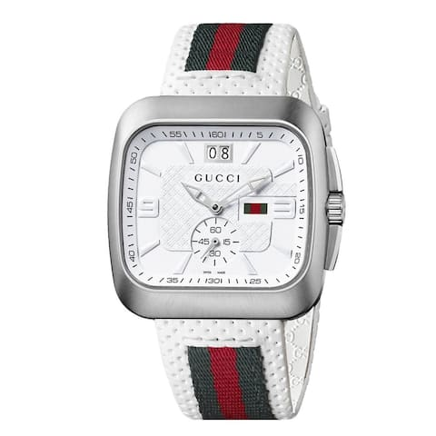 Gucci Men's YA131303 'Coupe' White Leather Strap Watch