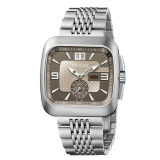 Gucci Men's G-Coupe Square Silvertone Bracelet Watch