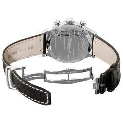 Baume & Mercier Men's 'Capeland' Automatic Chronograph Watch with Black Leather Strap