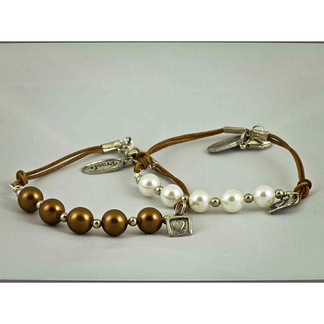 Natural Leather 'Pearls of Gratitude' Bracelet