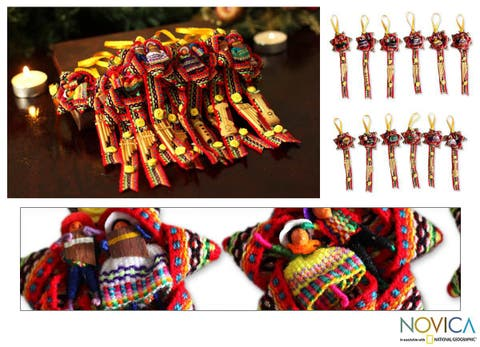 Set of 12 Cotton and Acrylic 'Red Christmas Carol' Ornaments (Peru)