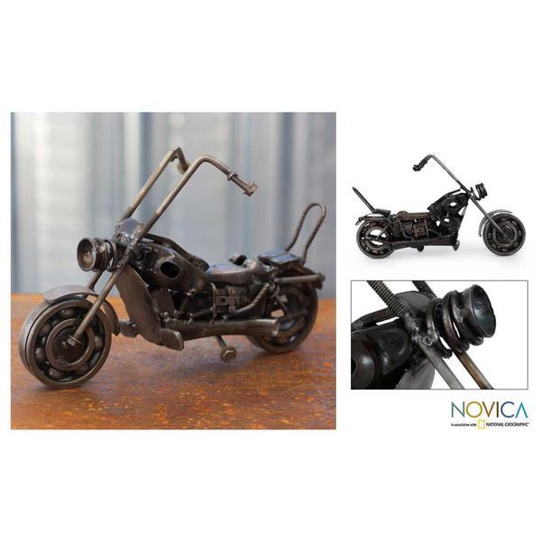 Handmade Auto Parts 'Rustic Motorbike Classic' Sculpture (Mexico)