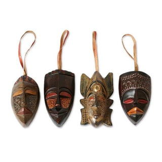 Set of 4 Sese Wood 'Festive Masks' Ornaments (Ghana)
