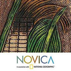 Handmade Leather 'Inca Corn' Mirror (Peru)