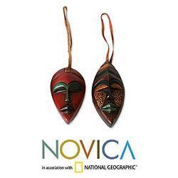 Set of 4 Sese Wood 'Celebration Masks' Ornaments (Ghana)