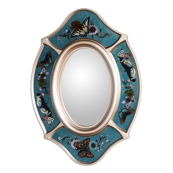 Handmade Glass 'Royal Butterfly' Mirror (Peru)