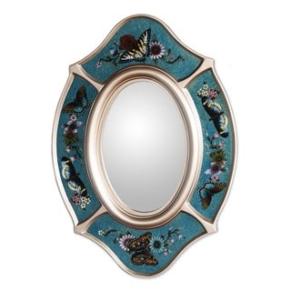 Handmade Glass 'Royal Butterfly' Mirror (Peru)