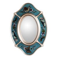 Handmade Glass 'Royal Butterfly' Mirror (Peru) - Blue - N/A