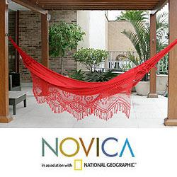 Handmade Cotton 'Recife Red' Hammock (Brazil)