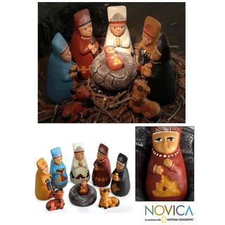 Handmade Ceramic 'Born to Lambayeque' Nativity Scene (Peru)