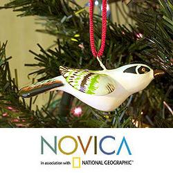 Set of 2 Handcrafted Ceramic 'Reed Buntings' Ornaments (Guatemala)