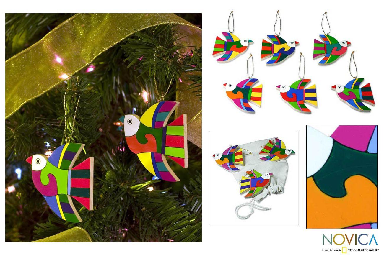 Set of 6 Pinewood 'Songbird' Ornaments (El Salvador)