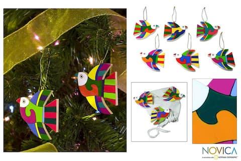 Handmade Songbird Pinewood Ornaments, Set of 6 (El Salvador)