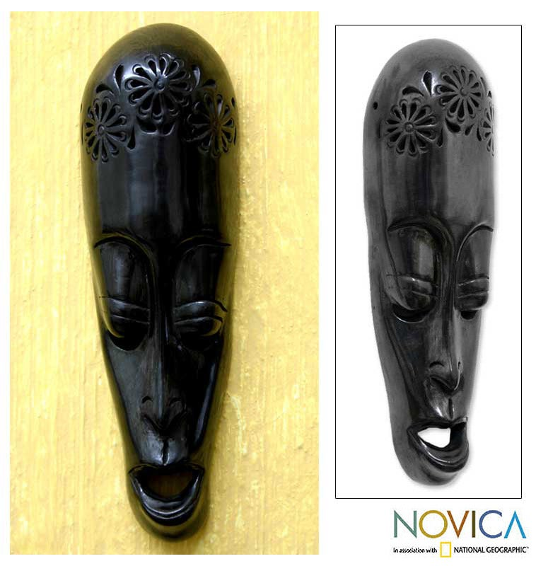 Handcrafted Ceramic 'Serenity' Mask (Mexico)
