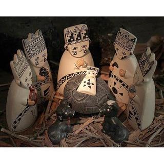Set of 8 Ceramic 'Born to the Amazons' Nativity Scene (Peru)