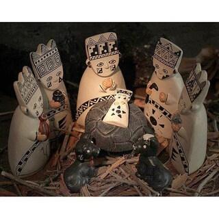 Handmade Set of 8 Ceramic 'Born to the Amazons' Nativity Scene (Peru)