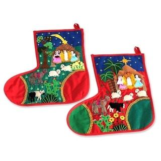 Set of 2 Cotton 'Holy Night' Applique Christmas Stockings (Peru)