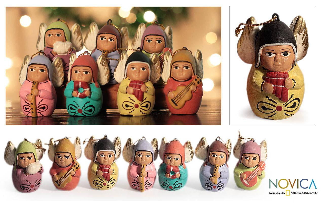Set of 7 Handcrafted Ceramic 'Angel Choir' Ornaments (Peru)