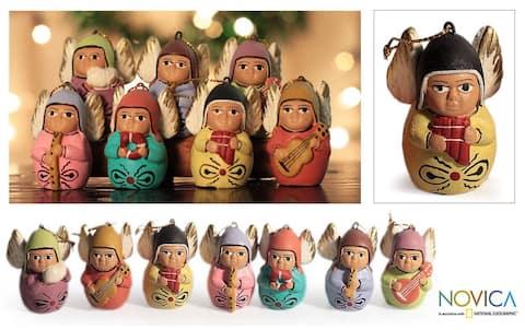 Set of 7 Handmade Ceramic 'Angel Choir' Ornaments (Peru)