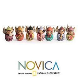 Set of 7 Handmade Ceramic 'Angel Choir' Ornaments (Peru) - Thumbnail 1