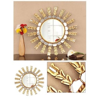 Mohena Wood and Glass Handmade 'Sun Medallion' Mirror (Peru)