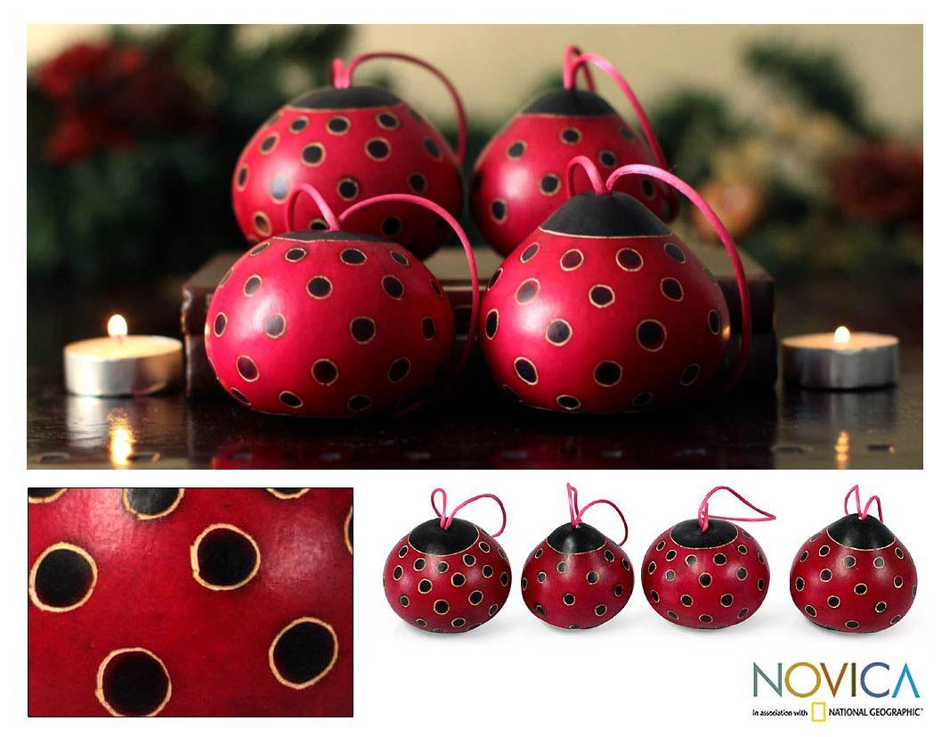 Set of 4 Dried Mate Gourd 'Fuchsia Ladybugs' Ornaments (Peru)