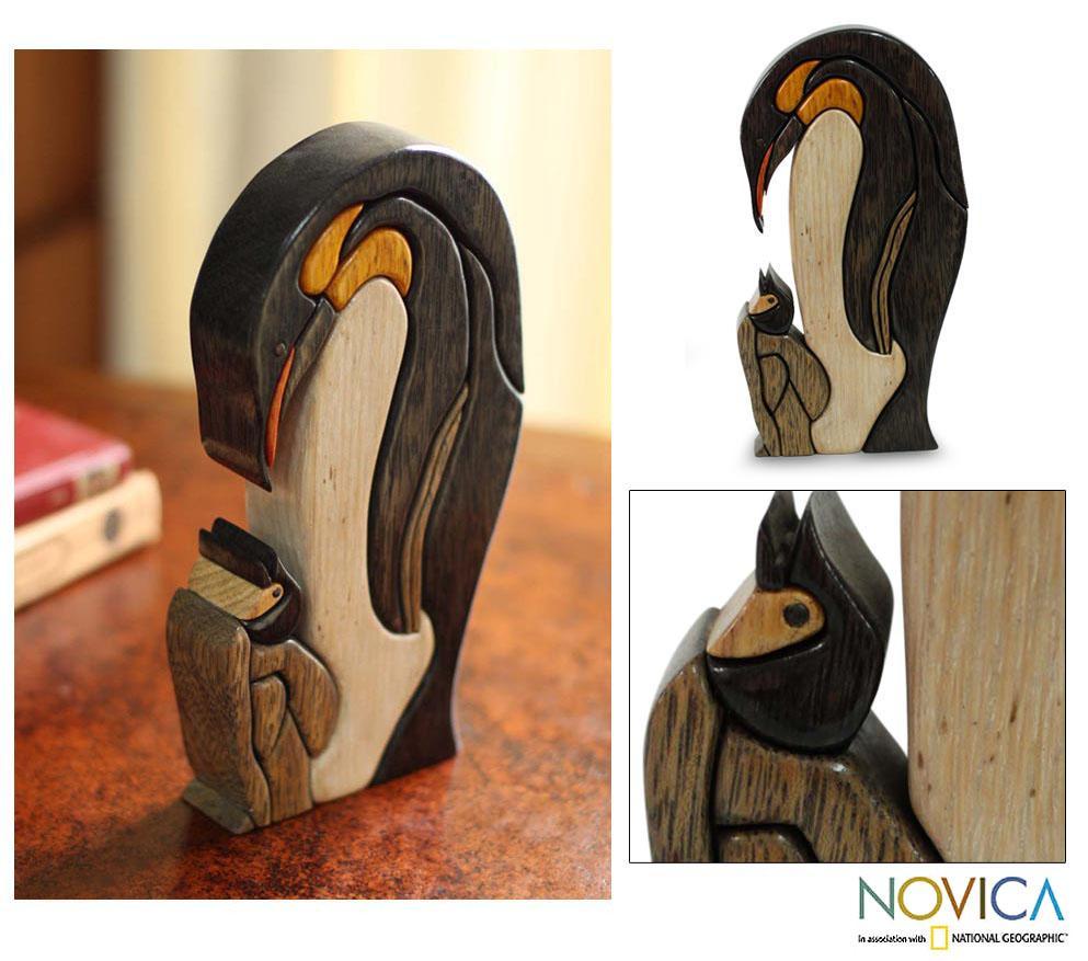 Ishpingo Wood 'Mother Penguin' Sculpture (Peru)
