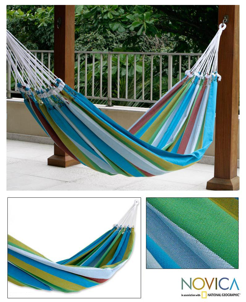 Cotton 'Tropical Day' Hammock  , Handmade in Brazil