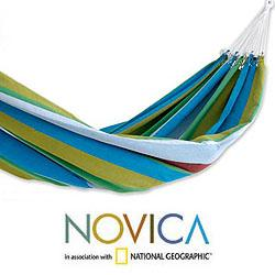 Cotton 'Tropical Day' Hammock  , Handmade in Brazil - Thumbnail 1