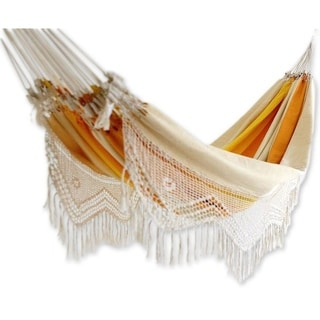 Outdoor Garden and Patio 100% Cotton Eco Friendly Orange Yellow Beige Stripe Hand Crocheted Macrame Edge Double Hammock (Brazil)